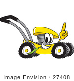 #27408 Clip Art Graphic Of A Yellow Lawn Mower Mascot Character Glancing While Passing By Chewing On Grass And Pointing Upwards