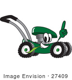 #27409 Clip Art Graphic Of A Green Lawn Mower Mascot Character Glancing While Passing By Chewing On Grass And Pointing Upwards