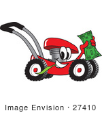 #27410 Clip Art Graphic Of A Red Lawn Mower Mascot Character Chewing On A Blade Of Grass And Holding Up A Dollar Bill While Passing By