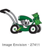 #27411 Clip Art Graphic Of A Green Lawn Mower Mascot Character Chewing On A Blade Of Grass And Holding Up A Dollar Bill While Passing By