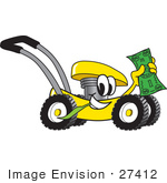 #27412 Clip Art Graphic Of A Yellow Lawn Mower Mascot Character Chewing On A Blade Of Grass And Holding Up A Dollar Bill While Passing By
