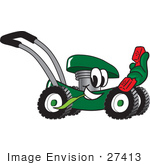 #27413 Clip Art Graphic Of A Green Lawn Mower Mascot Character Chewing On A Blade Of Grass And Holding A Red Phone While Passing By