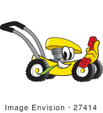 #27414 Clip Art Graphic Of A Yellow Lawn Mower Mascot Character Chewing On A Blade Of Grass And Holding A Red Phone While Passing By
