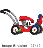#27415 Clip Art Graphic Of A Red Lawn Mower Mascot Character Chewing On A Blade Of Grass And Holding A Blue Phone While Passing By