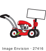 #27416 Clip Art Graphic Of A Red Lawn Mower Mascot Character Holding A Blank Sign And Chewing On A Blade Of Grass While Passing By