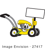 #27417 Clip Art Graphic Of A Yellow Lawn Mower Mascot Character Holding A Blank Sign And Chewing On A Blade Of Grass While Passing By