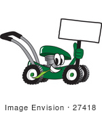 #27418 Clip Art Graphic Of A Green Lawn Mower Mascot Character Holding A Blank Sign And Chewing On A Blade Of Grass While Passing By