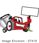 #27419 Clip Art Graphic Of A Red Lawn Mower Mascot Character Facing Front Chewing On A Blade Of Grass And Holding A Blank White Sign