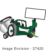 #27420 Clip Art Graphic Of A Green Lawn Mower Mascot Character Facing Front Chewing On A Blade Of Grass And Holding A Blank White Sign