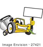 #27421 Clip Art Graphic Of A Yellow Lawn Mower Mascot Character Facing Front Chewing On A Blade Of Grass And Holding A Blank White Sign