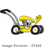 #27422 Clip Art Graphic Of A Yellow Lawn Mower Mascot Character Waving And Chewing On A Blade Of Grass While Passing By