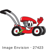 #27423 Clip Art Graphic Of A Red Lawn Mower Mascot Character Waving And Chewing On A Blade Of Grass While Passing By