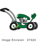 #27424 Clip Art Graphic Of A Green Lawn Mower Mascot Character Waving And Chewing On A Blade Of Grass While Passing By