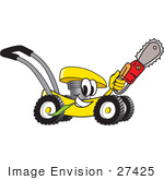 #27425 Clip Art Graphic Of A Yellow Lawn Mower Mascot Character Chewing On A Blade Of Grass And Holding A Saw While Passing By