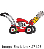 #27426 Clip Art Graphic Of A Red Lawn Mower Mascot Character Chewing On A Blade Of Grass And Holding A Saw While Passing By