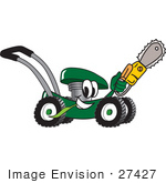 #27427 Clip Art Graphic Of A Green Lawn Mower Mascot Character Chewing On A Blade Of Grass And Holding A Saw While Passing By