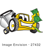 #27432 Clip Art Graphic Of A Yellow Lawn Mower Mascot Character Facing Front Smiling And Chewing On Grass While Holding A Dollar Bill