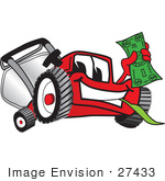 #27433 Clip Art Graphic Of A Red Lawn Mower Mascot Character Facing Front Smiling And Chewing On Grass While Holding A Dollar Bill