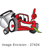 #27434 Clip Art Graphic Of A Red Lawn Mower Mascot Character Facing Front Smiling And Eating Grass While Pointing Upwards