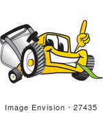 #27435 Clip Art Graphic Of A Yellow Lawn Mower Mascot Character Facing Front Smiling And Eating Grass While Pointing Upwards