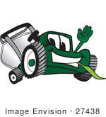 #27438 Clip Art Graphic Of A Green Lawn Mower Mascot Character Waving And Chewing On Grass