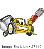 #27440 Clip Art Graphic Of A Yellow Lawn Mower Mascot Character Holding A Red Saw