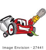 #27441 Clip Art Graphic Of A Red Lawn Mower Mascot Character Holding A Yellow Saw