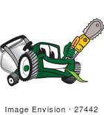 #27442 Clip Art Graphic Of A Green Lawn Mower Mascot Character Holding A Yellow Saw
