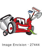 #27444 Clip Art Graphic Of A Red Lawn Mower Mascot Character Facing Front Chewing On Grass And Holding Gardening Tools