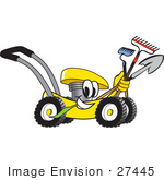 #27445 Clip Art Graphic Of A Yellow Lawn Mower Mascot Character Smiling And Chewing On Grass While Passing By And Carrying Garden Tools