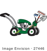 #27446 Clip Art Graphic Of A Green Lawn Mower Mascot Character Smiling And Chewing On Grass While Passing By And Carrying Garden Tools