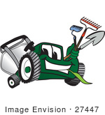 #27447 Clip Art Graphic Of A Green Lawn Mower Mascot Character Facing Front Chewing On Grass And Holding Gardening Tools