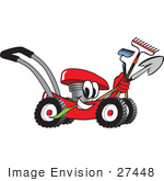 #27448 Clip Art Graphic Of A Red Lawn Mower Mascot Character Smiling And Chewing On Grass While Passing By And Carrying Garden Tools