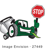 #27449 Clip Art Graphic Of A Green Lawn Mower Mascot Character Facing Front And Smiling While Chewing On Grass And Holding A Stop Sign
