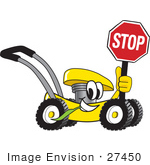 #27450 Clip Art Graphic Of A Yellow Lawn Mower Mascot Character Smiling While Passing By Chewing On Grass And Holding A Stop Sign