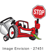 #27451 Clip Art Graphic Of A Red Lawn Mower Mascot Character Facing Front And Smiling While Chewing On Grass And Holding A Stop Sign