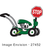 #27452 Clip Art Graphic Of A Green Lawn Mower Mascot Character Smiling While Passing By Chewing On Grass And Holding A Stop Sign