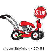 #27453 Clip Art Graphic Of A Red Lawn Mower Mascot Character Smiling While Passing By Chewing On Grass And Holding A Stop Sign