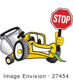 #27454 Clip Art Graphic Of A Yellow Lawn Mower Mascot Character Facing Front And Smiling While Chewing On Grass And Holding A Stop Sign