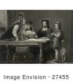 #27455 Illustration Of A Little Boy Probably Diego Colon And A Dog Standing By A Table Where Christopher Columbus And Three Other Men Listen As Columbus Proposes His Theory Of A New World With Maps