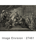 #27461 Illustration Of Christopher Columbus Kneeling In Front Of King Ferdinand And Queen Isabella Of Spain As Natives And Other People Watch During A Reception After His First Return From America