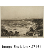 #27464 Illustration Of A Grassy Shore The First Landing Place Of Christopher Columbus San Salvador Marie-Galante Or Canary Island