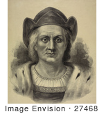 #27468 Illustration Of A Portrait Of Christopher Columbus Facing Front And Wearing A Hat