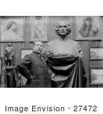 #27472 Stock Photo Of A Man Artist Ettore Ximenes Proudly Posing In Front Of His Bust Statue Of Christopher Columbus In His Studio