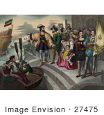 #27475 Illustration Of Christopher Columbus Pointing And Preparing To Get Into A Rowboat To Board Onto His Ship As People Watch During The Departure Of Columbus