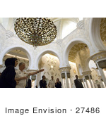 #27486 Stock Photo Of Chief Of Naval Operations Admiral Gary Roughead Standing In A Gorgeous Archaded Room Under A Chandelier While Touring The Sheika Zayed Grand Mosque In Abu Dhabi United Arab Emirates April 16th 2008