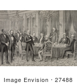 #27488 Illustration of Men Signing the Treaty of Paris to End the Spanish-American War on December 10th 1898 by JVPD