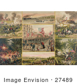 #27489 Illustration Of A Collage Of Scenes Of The Spanish-American War