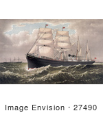 #27490 Illustration Of The Steamships Egypt And Spain Of The National Steamship Line Between New York And Liverpool