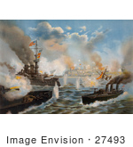 #27493 Illustration of United States Warships Under Command Of Rear Admiral Sampson, Bombarding San Juan, Porto Rico During The Spanish-American War On May 12th 1898 by JVPD